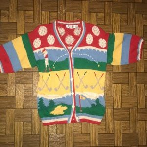 Vintage Retro 70s Golf Button Up Cardigan Sweater